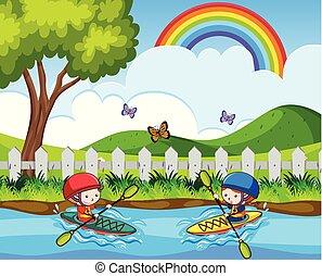 いたずら書き, 子供, 川, canoeing