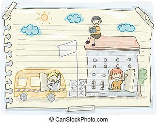 いたずら書き, 学校の 子供, バス