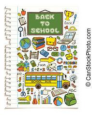 いたずら書き, 学校, set., カラフルである, アイコン