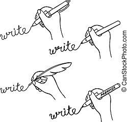 いたずら書き, 手の執筆