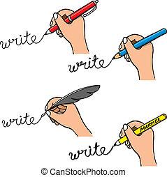 いたずら書き, 手書き