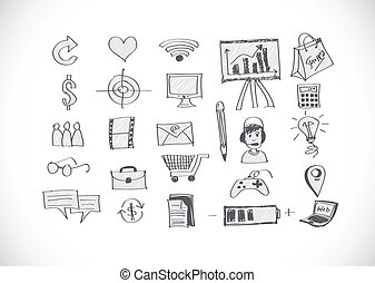 いたずら書き, 手, ビジネス, doodles