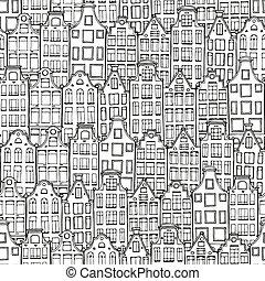 いたずら書き, 手, 背景, 引かれる, houses.
