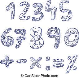 いたずら書き, 数, 数学, サイン