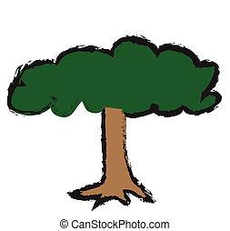いたずら書き, 木, アイコン, ベクトル