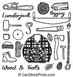 いたずら書き, 漫画, stuff., セット, 木, hand-drawn, lumberjack, drawing...