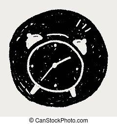 いたずら書き, 目覚し 時計