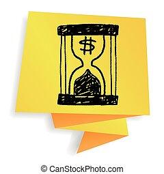 いたずら書き, 砂時計, お金