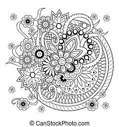 いたずら書き, 花, もつれ, 背景, mandalas