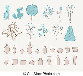 いたずら書き, 花, デザイン, 花びん