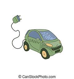 いたずら書き, 電気である, 有色人種, 自動車