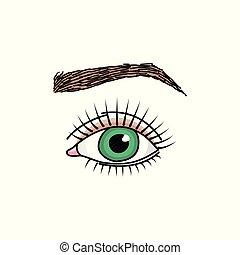 いたずら書き, 額, 目, 緑, イラスト