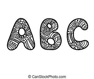 いたずら書き, abc, 手紙, 手, 引かれる
