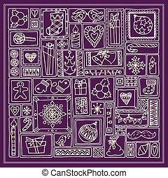 いたずら書き, backgr, 幾何学的, 長方形, カード, 暗い, 木, pattern., 贈り物, テンプレート, セット, クリスマス, 手, 鐘, デザイン, 引かれる, 雪片, frames., 蝋燭, 柑橘類, 甘いもの, 心, 紫色