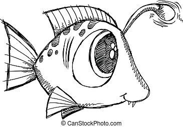 いたずら書き, fish, ベクトル, 芸術, スケッチ