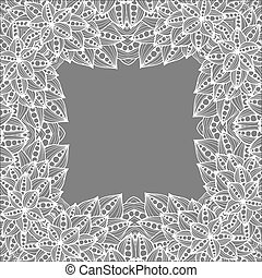 いたずら書き, pattern., leaves., 背景, モノクローム, 花, doodles