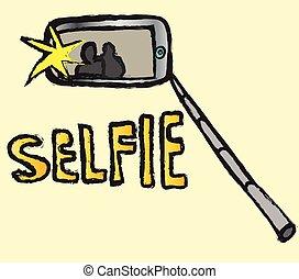 いたずら書き, selfie, ベクトル, アイコン
