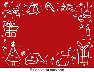 いたずら書き, sketchy, クリスマス, フレーム