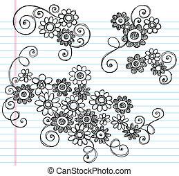 いたずら書き, sketchy, ベクトル, セット, 花