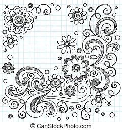 いたずら書き, sketchy, ベクトル, 花