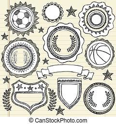 いたずら書き, sketchy, 紋章, バッジ, スポーツ