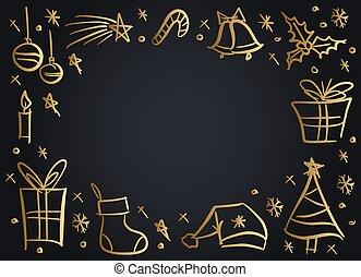 いたずら書き, sketchy, 要素, クリスマス, フレーム