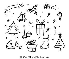 いたずら書き, sketchy, 要素, クリスマス
