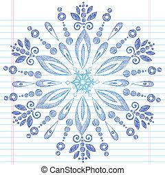 いたずら書き, sketchy, 雪片, 冬