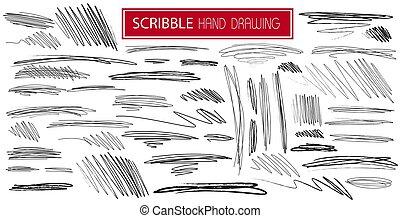 いたずら書き, style., ライン, 引かれる, セット, 印, 白, イラスト, スケッチ, 落書き, ベクトル, 黒い背景, 大きい, drawn., アイコン, 線, 手