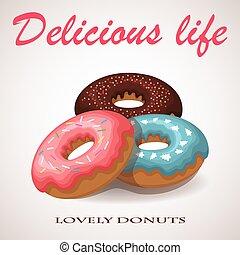 いちご, バニラ, チョコレート, donuts., vector.