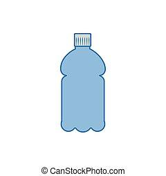 いっぱいになりなさい, アイコン, ジュース, プラスチック, 青, びん