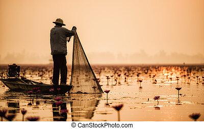 いつか, 湖釣, 漁師, 行動, タイ