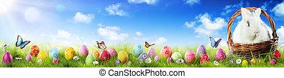 うさぎ, イースター草, 愛らしい, 卵, バスケット
