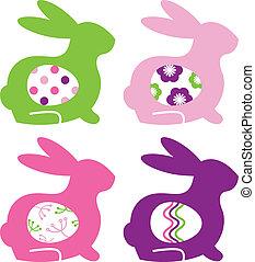 うさぎ, カラフルである, 抽象的, 隔離された, セット, 白, 卵