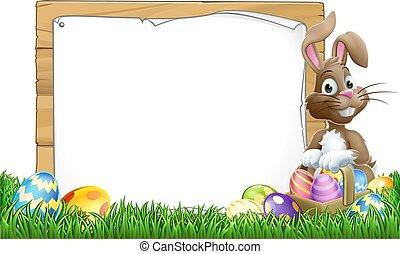 うさぎ, 卵, イースター, 印, 漫画, 背景, バスケット