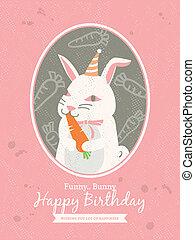 うさぎ, birthday, デザイン, 漫画, カード