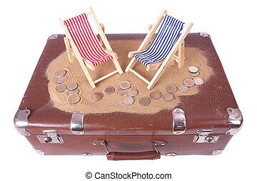 うそ, おもちゃ, 椅子, 型, コイン, 2, 1(人・つ), スーツケース, 前部, 浜, ユーロ