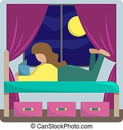 うそ, 読む, 女の子, book., ベッド