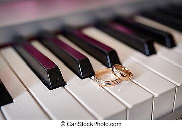 うそ, 金, キー, リング, 結婚式, ピアノ