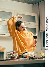 うれしい, の上, 間, 手, 地位, 1(人・つ), ワイン ガラス, パッティング, 女性