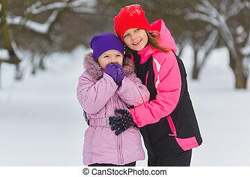 うれしい, 子供たちが遊ぶ, 中に, snow., 2, 幸せ, 女の子, 楽しい時を 過すこと, 外, 冬, 日