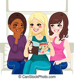 うわさ話, 雑誌, 読書, ファッション, 女性