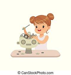 えら, わずかしか, 作成, 知性, ロボット工学, プログラミング, イラスト, ロボット, ベクトル, 人工, 背景, 白, 美しい, 子供, 未来派, 痛みなさい
