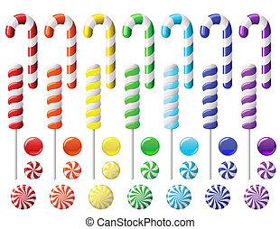 おいしい, カラフルである, コレクション, lollipop