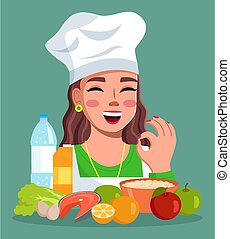 おいしい, 微笑, 女性, 提示, 帽子, コック, ジェスチャー, 朗らかである, 身に着けていること, オーケー, 女の子, 女, 食物