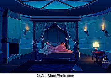 おおい, 睡眠, 若い1対, ベッド, 城