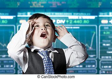 おかしい顔, 子供, 驚かされる, スーツ, ビジネスマン, 市場, 株