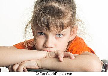 おこらせている, 女の子, 失望させられた, 肖像画