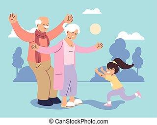 おじいさん, 孫娘, 祖母, 祖父母, 日, 幸せ