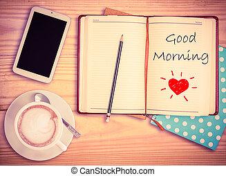 おはよう, 上に, ノート, 鉛筆, 痛みなさい, 電話, そして, コーヒーカップ, wi